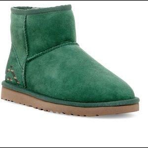 Ugg Green Sz 8 Mini Rustic Weave Booties 1009265